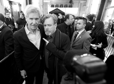 HOLLYWOOD, CA - DECEMBER 14: (EDITORS NOTE: Image has been shot in black and white. Color version not available.) Actors Harrison Ford (L) and Mark Hamill attend the World Premiere of ?Star Wars: The Force Awakens? at the Dolby, El Capitan, and TCL Theatres on December 14, 2015 in Hollywood, California.  (Photo by Charley Gallay/Getty Images for Disney) *** Local Caption *** Harrison Ford;Mark Hamill