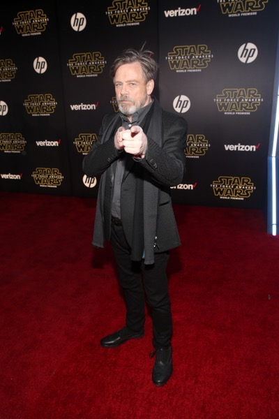 HOLLYWOOD, CA - DECEMBER 14:  Actor Mark Hamill attends the World Premiere of ?Star Wars: The Force Awakens? at the Dolby, El Capitan, and TCL Theatres on December 14, 2015 in Hollywood, California.  (Photo by Jesse Grant/Getty Images for Disney) *** Local Caption *** Mark Hamill