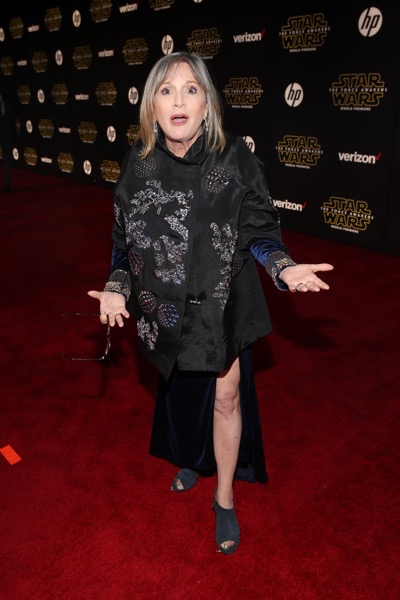 HOLLYWOOD, CA - DECEMBER 14:  Actress Carrie Fisher attends the World Premiere of ?Star Wars: The Force Awakens? at the Dolby, El Capitan, and TCL Theatres on December 14, 2015 in Hollywood, California.  (Photo by Jesse Grant/Getty Images for Disney) *** Local Caption *** Carrie Fisher