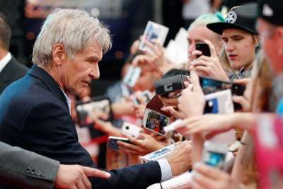 SYDNEY, AUSTRALIA - DECEMBER 10:  Harrison Ford attends the Star Wars: The Force Awakens fan event at Sydney Opera House on December 10, 2015 in Sydney, Australia.  (Photo by Brendon Thorne/Getty Images for Walt Disney Studios) *** Local Caption *** Harrison Ford