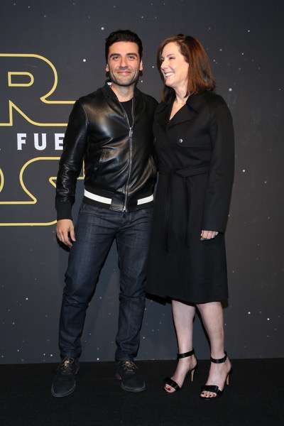 MEXICO CITY, MEXICO - DECEMBER 08: Producer Kathleen Kennedy and Actor Oscar Isaac attends the Fan Event and Q&A of Star Wars The Force Awakens at the Cinemex Antara In Mexico City, Mexico, December 08, 2015. The World Premiere will be the next December 18. (Photo by Victor Chavez/Getty Images for Walt Disney Studios)