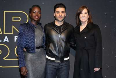MEXICO CITY, MEXICO - DECEMBER 08: Actress Lupita Nyong'o, Actor Oscar Isaac and Producer Kathleen Kennedy attends the Fan Event and Q&A of Star Wars The Force Awakens at the Cinemex Antara In Mexico City, Mexico, December 08, 2015. The World Premiere will be the next December 18. (Photo by Victor Chavez/Getty Images for Walt Disney Studios)