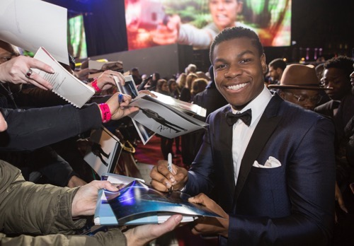 LONDON, UK - DECEMBER 16: Actor John Boyega attends the European Premiere of the highly anticipated Star Wars: The Force Awakens in London on December 16, 2015.