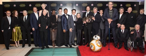 LONDON, UK - DECEMBER 16: Cast and filmakers attend the European Premiere of the highly anticipated Star Wars: The Force Awakens in London on December 16, 2015.