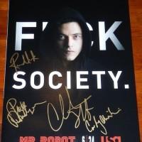 Mr Robot signed autograph poster Rami Malek Portia Doubleday Christian Slater Carly Chaikin
