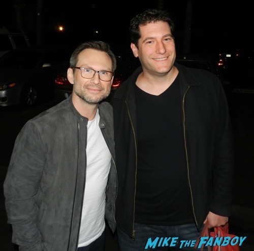 christian slater signing autographs fan photo Mr Robot FYC Q and A Rami Malek signing autographs 1