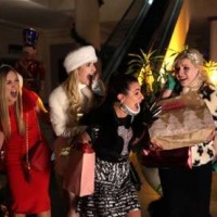 "SCREAM QUEENS: L-R: Billie Lourd, Emma Roberts, Lea Michele and Abigail Breslin in the ""Black Friday"" episode of SCREAM QUEENS airing Tuesday, Dec. 1 (9:00-10:00 PM ET/PT) on FOX. ©2015 Fox Broadcasting Co. Cr: Patti Perret/FOX."