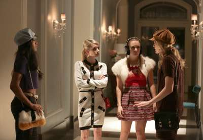 """SCREAM QUEENS: L-R: Keke Palmer, Emma Roberts, Billie Lourd and Skyler Samuels in the first part of the two-hour """"Dorkus"""" and """"The Final Girls"""" season finale episodes of SCREAM QUEENS airing Tuesday, Dec. 8 (8:00-10:00 PM ET/PT) on FOX. ©2015 Fox Broadcasting Co. CR: Patti Perret/FOX"""