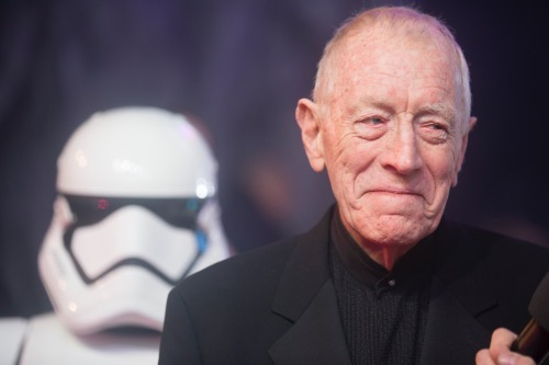 LONDON, UK - DECEMBER 16: Actor Max Von Sydow attends the European Premiere of the highly anticipated Star Wars: The Force Awakens in London on December 16, 2015.