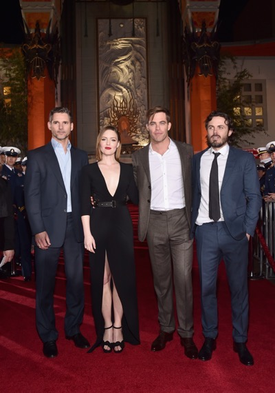 HOLLYWOOD, CA - JANUARY 25:  Actors Eric Bana, Holliday Grainger, Chris Pine and Casey Affleck and the cast of Disneyís ìThe Finest Hoursî were greeted by the U.S. Coast Guard Band, Honor Guard and throngs of fans at the filmís premiere earlier tonight at the TCL Chinese Theater on Hollywood Blvd. The heroic action-thriller opens in U.S. theaters this Friday, January 29.  (Photo by Alberto E. Rodriguez/Getty Images for Disney) *** Local Caption *** Eric Bana; Holliday Grainger; Chris Pine; Casey Affleck