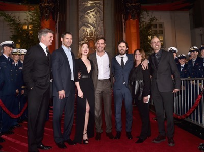 HOLLYWOOD, CA - JANUARY 25:  (L-R) Producer James Whitaker, actors Erica Bana, Holliday Grainger, Chris Pine, Casey Affleck, producer Dorothy Aufiero and director Craig Gillespie and the cast of Disneyís ìThe Finest Hoursî were greeted by the U.S. Coast Guard Band, Honor Guard and throngs of fans at the filmís premiere earlier tonight at the TCL Chinese Theater on Hollywood Blvd. The heroic action-thriller opens in U.S. theaters this Friday, January 29.  (Photo by Alberto E. Rodriguez/Getty Images for Disney) *** Local Caption *** James Whitaker; Eric Bana; Holliday Grainger; Chris Pine; Casey Affleck; Dorothy Aufiero; Craig Gillespie