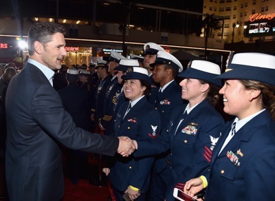 HOLLYWOOD, CA - JANUARY 25: Actor Eric Bana and the cast of Disneyís ìThe Finest Hoursî were greeted by the U.S. Coast Guard Band, Honor Guard and throngs of fans at the filmís premiere earlier tonight at the TCL Chinese Theater on Hollywood Blvd. The heroic action-thriller opens in U.S. theaters this Friday, January 29.  (Photo by Alberto E. Rodriguez/Getty Images for Disney) *** Local Caption *** Eric Bana