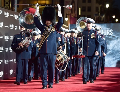 HOLLYWOOD, CA - JANUARY 25:  The cast of Disneyís ìThe Finest Hoursî were greeted by the U.S. Coast Guard Band, Honor Guard and throngs of fans at the filmís premiere earlier tonight at the TCL Chinese Theater on Hollywood Blvd. The heroic action-thriller opens in U.S. theaters this Friday, January 29.  (Photo by Alberto E. Rodriguez/Getty Images for Disney)