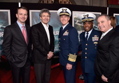 HOLLYWOOD, CA - JANUARY 25:  (L-R) President of Walt Disney Studios Motion Picture Production Sean Bailey, Chairman, The Walt Disney Studios, Alan Horn, Admiral and Commandant, US Coast Guard, Paul Zukunft, Commander, US Coast Guard, John Pruitt and President, The Walt Disney Studios, Alan Bergman and the cast of Disneyís ìThe Finest Hoursî were greeted by the U.S. Coast Guard Band, Honor Guard and throngs of fans at the filmís premiere earlier tonight at the TCL Chinese Theater on Hollywood Blvd. The heroic action-thriller opens in U.S. theaters this Friday, January 29.  (Photo by Alberto E. Rodriguez/Getty Images for Disney) *** Local Caption *** Sean Bailey; Alan Horn; Paul Zukunft; John Pruitt; Alan Bergman