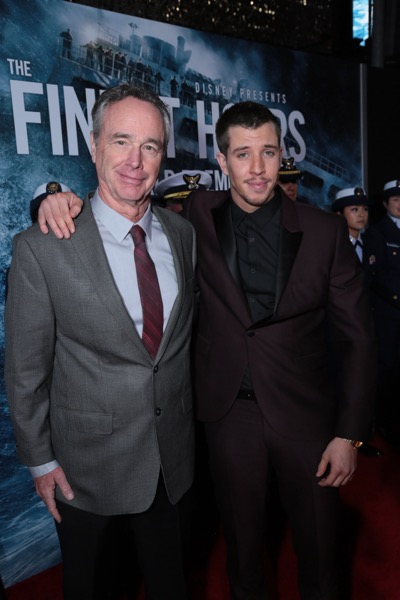 "Doug Merrifield, Beau Knapp and the cast of Disney's ""The Finest Hours"" were greeted by the U.S. Coast Guard Band, Honor Guard and throngs of fans at the film's premiere earlier tonight at the TCL Chinese Theater on Hollywood Blvd. The heroic action-thriller opens in U.S. theaters this Friday, January 29. (Photo: Alex J. Berliner/ABImages)"