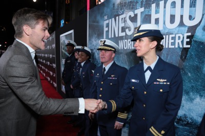 "Chris Pine, Casey Affleck, Eric Bana and the cast of Disney's ""The Finest Hours"" were greeted by the U.S. Coast Guard Band, Honor Guard and throngs of fans at the film's premiere earlier tonight at the TCL Chinese Theater on Hollywood Blvd. The heroic action-thriller opens in U.S. theaters this Friday, January 29. (Photo: Alex J. Berliner/ABImages)"