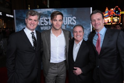 "Jim Whitaker, Chris Pine, Alan Bergman, Sean Bailey and the cast of Disney's ""The Finest Hours"" were greeted by the U.S. Coast Guard Band, Honor Guard and throngs of fans at the film's premiere earlier tonight at the TCL Chinese Theater on Hollywood Blvd. The heroic action-thriller opens in U.S. theaters this Friday, January 29. (Photo: Alex J. Berliner/ABImages)"