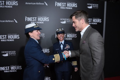 "Chris Pine and the cast of Disney's ""The Finest Hours"" were greeted by the U.S. Coast Guard Band, Honor Guard and throngs of fans at the film's premiere earlier tonight at the TCL Chinese Theater on Hollywood Blvd. The heroic action-thriller opens in U.S. theaters this Friday, January 29. (Photo: Alex J. Berliner/ABImages)"