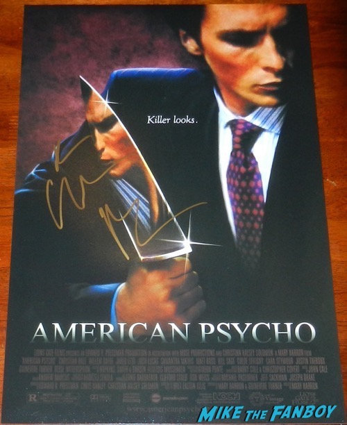 christian Bale signed american psycho poster