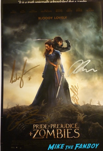 Pride Prejudice and Zombies cast signed autograph poster lily james