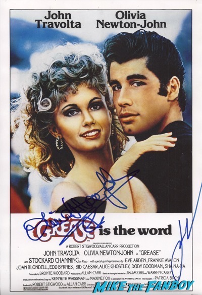 Grease signed poster john travolta olivia newton john