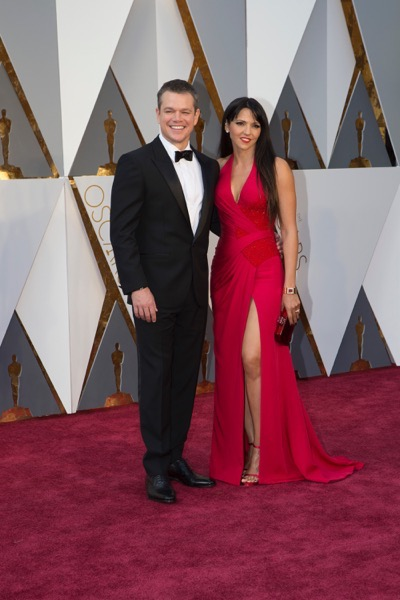 THE OSCARS(r) - ARRIVALS - The 88th Oscars, held on Sunday, February 28, at the Dolby Theatre(r) at Hollywood & Highland Center(r) in Hollywood, are televised live by the ABC Television Network at 7 p.m. EST/4 p.m. PST.  (ABC/Rick Rowell) MATT DAMON, LUCIANA BARROSO