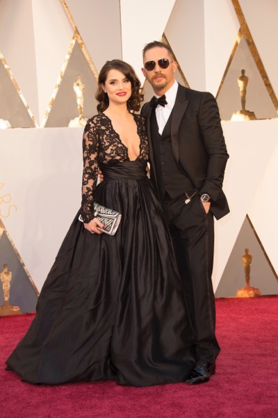THE OSCARS(r) - ARRIVALS - The 88th Oscars, held on Sunday, February 28, at the Dolby Theatre(r) at Hollywood & Highland Center(r) in Hollywood, are televised live by the ABC Television Network at 7 p.m. EST/4 p.m. PST.  (ABC/Rick Rowell) CHARLOTTE RILEY, TOM HARDY