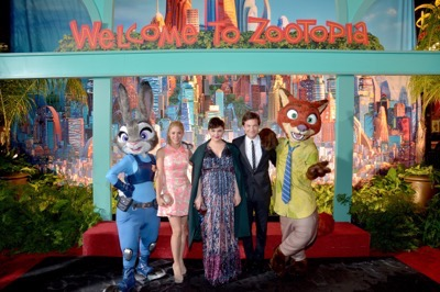 "HOLLYWOOD, CA - FEBRUARY 17:  (L-R) Singer Shakira and actors Ginnifer Goodwin and Jason Bateman pose with Nick Wilde and Judy Hopps characters during the Los Angeles premiere of Walt Disney Animation Studios' ""Zootopia"" on February 17, 2016 in Hollywood, California.  (Photo by Charley Gallay/Getty Images for Disney) *** Local Caption *** Shakira; Ginnifer Goodwin; Jason Bateman"
