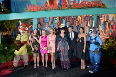 "HOLLYWOOD, CA - FEBRUARY 17:  (Top L-R) Animator Raymond S. Persi and actors Nate Torrence, Tommy Chong, Maurice LaMarche, Alan Tudyk, and Don Lake and (Bottom L-R) actresses Katie Lowes and Kristen Bell, executive producer John Lasseter, singer Shakira and actors Ginnifer Goodwin, Jason Bateman, and Jenny Slate pose with Nick Wilde and Judy Hopps characters during the Los Angeles premiere of Walt Disney Animation Studios' ""Zootopia"" on February 17, 2016 in Hollywood, California.  (Photo by Charley Gallay/Getty Images for Disney) *** Local Caption *** Shakira; Ginnifer Goodwin; Jason Bateman; Kristen Bell; Katie Lowes; John Lasseter; Jenny Slate; Raymond S. Persi; Nate Torrence; Tommy Chong; Maurice LaMarche; Alan Tudyk; Don Lake"