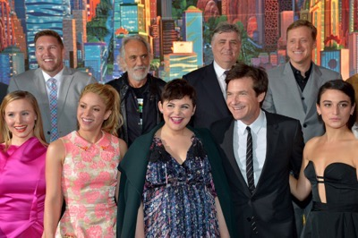 "HOLLYWOOD, CA - FEBRUARY 17:  (Top L-R) Actors Nate Torrence, Tommy Chong, Maurice LaMarche, and Alan Tudyk and (Bottom L-R) actresses Kristen Bell, singer Shakira and actors Ginnifer Goodwin, Jason Bateman, and Jenny Slate attend the Los Angeles premiere of Walt Disney Animation Studios' ""Zootopia"" on February 17, 2016 in Hollywood, California.  (Photo by Charley Gallay/Getty Images for Disney) *** Local Caption *** Shakira; Ginnifer Goodwin; Jason Bateman; Kristen Bell; Jenny Slate; Nate Torrence; Tommy Chong; Maurice LaMarche; Alan Tudyk"