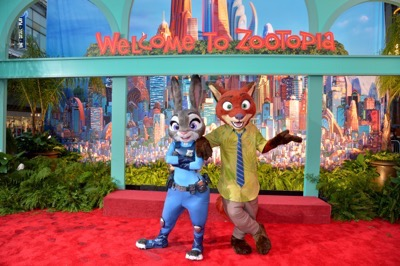 "HOLLYWOOD, CA - FEBRUARY 17:  Judy Hopps (L) and Nick Wilde characters pose during the Los Angeles premiere of Walt Disney Animation Studios' ""Zootopia"" on February 17, 2016 in Hollywood, California.  (Photo by Charley Gallay/Getty Images for Disney)"