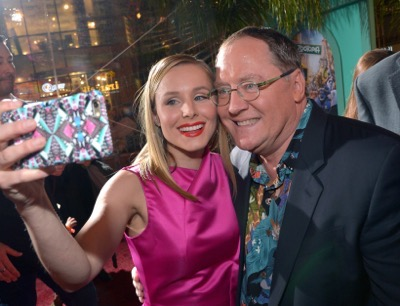 "HOLLYWOOD, CA - FEBRUARY 17:  Actress Kristen Bell (L) and Executive producer John Lasseter take a selfie during the Los Angeles premiere of Walt Disney Animation Studios' ""Zootopia"" on February 17, 2016 in Hollywood, California.  (Photo by Charley Gallay/Getty Images for Disney) *** Local Caption *** John Lasseter; Kristen Bell"