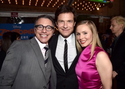 "HOLLYWOOD, CA - FEBRUARY 17:  (L-R) President of Marketing for The Walt Disney Studios, Ricky Strauss, actors Jason Bateman, and Kristen Bell attend the Los Angeles premiere of Walt Disney Animation Studios' ""Zootopia"" on February 17, 2016 in Hollywood, California.  (Photo by Alberto E. Rodriguez/Getty Images for Disney) *** Local Caption *** Kristen Bell; Ricky Strauss; Jason Bateman"