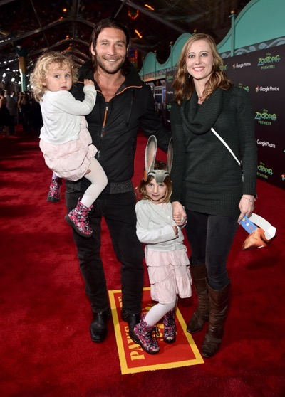 "HOLLYWOOD, CA - FEBRUARY 17:  Actor Zach McGowan (L), Emily Johnson, and family attend the Los Angeles premiere of Walt Disney Animation Studios' ""Zootopia"" on February 17, 2016 in Hollywood, California.  (Photo by Alberto E. Rodriguez/Getty Images for Disney) *** Local Caption *** Zach McGowan; Emily Johnson"