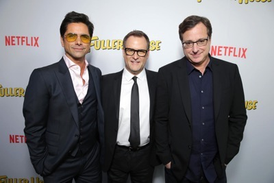 "John Stamos, Dave Coulier and Bob Saget seen at Netflix Premiere of ""Fuller House"" at The Grove - Pacific Theatres on Tuesday, February 16, 2016, in Los Angeles, CA. (Photo by Eric Charbonneau/Invision for Netflix/AP Images)"