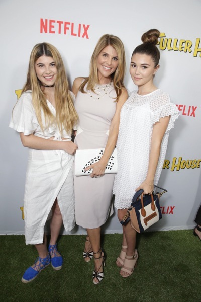 "Olivia Jade Giannelli, Lori Loughlin and Isabella Rose Giannulli seen at Netflix Premiere of ""Fuller House"" at The Grove - Pacific Theatres on Tuesday, February 16, 2016, in Los Angeles, CA. (Photo by Eric Charbonneau/Invision for Netflix/AP Images)"