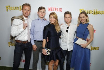 "Valeri Bure, Lev Valerievich Bure, Candace Cameron Bure, Maksim Valerievich Bure and Natasha Valerievna Bure seen at Netflix Premiere of ""Fuller House"" at The Grove - Pacific Theatres on Tuesday, February 16, 2016, in Los Angeles, CA. (Photo by Eric Charbonneau/Invision for Netflix/AP Images)"