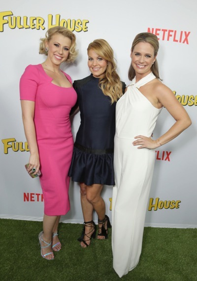 "Jodie Sweetin, Candace Cameron Bure and Andrea Barber seen at Netflix Premiere of ""Fuller House"" at The Grove - Pacific Theatres on Tuesday, February 16, 2016, in Los Angeles, CA. (Photo by Eric Charbonneau/Invision for Netflix/AP Images)"