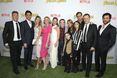 "Exec. Producer Jeff Franklin, John Stamos, Lori Loughlin, Jodie Sweetin, Andrea Barber, Michael Campion, Candace Cameron Bure, Elias Harger, Soni Bringas, Bob Saget, Dave Coulier and Juan Pablo Di Pace seen at Netflix Premiere of ""Fuller House"" at The Grove - Pacific Theatres on Tuesday, February 16, 2016, in Los Angeles, CA. (Photo by Eric Charbonneau/Invision for Netflix/AP Images)"