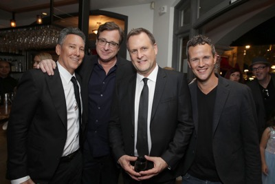 "Exclusive -  Exec. Producer Jeff Franklin, Bob Saget, Dave Coulier and Scott Weinger seen at the after-party of the Netflix Premiere of ""Fuller House"" at The Grove - Pacific Theatres on Tuesday, February 16, 2016, in Los Angeles, CA. (Photo by Eric Charbonneau/Invision for Netflix/AP Images)"