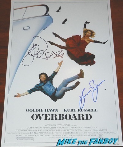 Goldie Hawn kurt russell signed overboard autograph poster