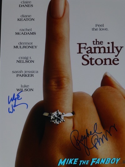Luke Wilson signed autograph family stone poster