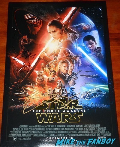 Gwendoline Christie Adam Driver signed autograph Star Wars The Force Awakens poster