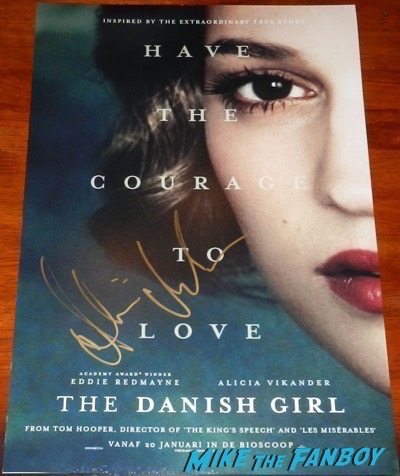 Alicia Vikander signed autograph Danish Girl character poster