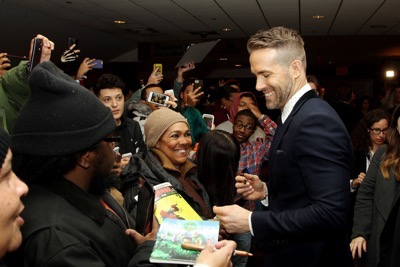 "- New York, NY - 2/8/16 - 20th Century Fox Presents the New York Fan Event for ""DEADPOOL"". The Film Opens nationwide on February 12th, 2016   -PICTURED: Ryan Reynolds with Fans -PHOTO by: Marion Curtis/Starpix -FILENAME: MC_16_01061324.JPG -LOCATION: AMC Empire Times Square  Startraks Photo New York,  NY For licensing please call 212-414-9464  or email sales@startraksphoto.com Image may not be published in any way that is or might be deemed defamatory, libelous, pornographic, or obscene. Please consult our sales department for any clarification or question you may have. Startraks Photo reserves the right to pursue unauthorized users of this image. If you violate our intellectual property you may be liable for actual damages, loss of income, and profits you derive from the use of this image, and where appropriate, the cost of collection and/or statutory damages."