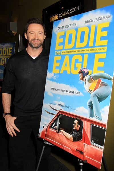 "NY - Hugh Jackman Hosts A Screening of ""Eddie The Eagle"" .   -PICTURED: Hugh Jackman -PHOTO by: Dave Allocca/Starpix -Filename: DA_16_701204.JPG -Location: Landmark Sunshine Cinema"