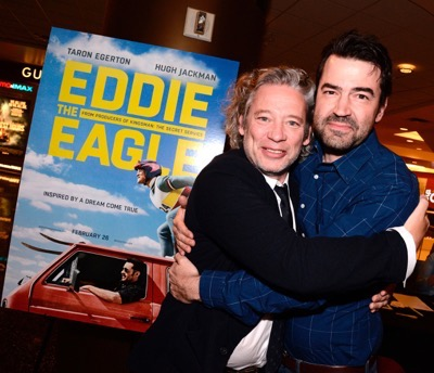 "Director Dexter Fletcher and Ron Livingston seen at Twentieth Century Fox Special Screening of ""Eddie The Eagle"" on Thursday, January 28, 2016, in Los Angeles, CA. (Photo by Dan Steinberg/Invision for Twentieth Century Fox/AP Images)"
