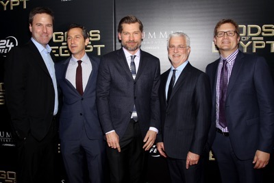"- New York, NY - 2/24/16 - Summit Entertainment - A Lionsgate Company Presents the New York Premiere of ""Gods of Egypt""   -PICTURED: Basil Iwanyk (Producer), Erik Feig (Co-Chair Lionsgate), Nikolaj Coster-Waldau, Rob Friedman (Co-Chair Lionsgate), Geoffrey Shaevitz (Pres. Production Lionsgate) -PHOTO by: Marion Curtis/StarPix -FILENAME: MC_16_01084039.JPG -LOCATION: AMC Lowes Lincoln Square 13  Startraks Photo New York,  NY For licensing please call 212-414-9464  or email sales@startraksphoto.com Image may not be published in any way that is or might be deemed defamatory, libelous, pornographic, or obscene. Please consult our sales department for any clarification or question you may have. Startraks Photo reserves the right to pursue unauthorized users of this image. If you violate our intellectual property you may be liable for actual damages, loss of income, and profits you derive from the use of this image, and where appropriate, the cost of collection and/or statutory damages."