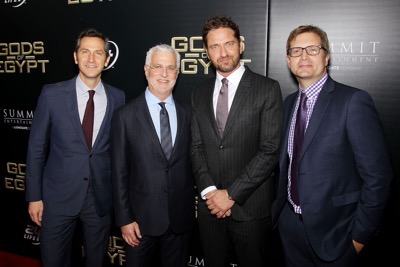 "- New York, NY - 2/24/16 - Summit Entertainment - A Lionsgate Company Presents the New York Premiere of ""Gods of Egypt""   -PICTURED: Erik Feig (Co-Chair Lionsgate), Rob Friedman (Co-Chair Lionsgate), Gerard Butler, Geoffrey Shaevitz (Pres. Production Lionsgate) -PHOTO by: Marion Curtis/StarPix -FILENAME: MC_16_01084074.JPG -LOCATION: AMC Lowes Lincoln Square 13  Startraks Photo New York,  NY For licensing please call 212-414-9464  or email sales@startraksphoto.com Image may not be published in any way that is or might be deemed defamatory, libelous, pornographic, or obscene. Please consult our sales department for any clarification or question you may have. Startraks Photo reserves the right to pursue unauthorized users of this image. If you violate our intellectual property you may be liable for actual damages, loss of income, and profits you derive from the use of this image, and where appropriate, the cost of collection and/or statutory damages."