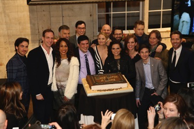 "ONCE UPON A TIME - The cast and crew of ""Once Upon a Time"" celebrated the series' 100th episode on location in Storybrooke. The 100th episode, entitled ""Souls of the Departed,"" airs SUNDAY, MARCH 6 (8:00-9:00 p.m. EST) , on the ABC Television Network. (ABC/Jack Rowand) COLIN O'DONOGHUE, PATRICK MORAN (EXECUTIVE VICE PRESIDENT, ABC STUDIOS), CHANNING DUNGEY (PRESIDENT, ABC ENTERTAINMENT), STEVE PEARLMAN (EXECUTIVE PRODUCER, ONCE UPON A TIME), ADAM HOROWITZ (EXECUTIVE PRODUCER, ONCE UPON A TIME), ANDREW CHAMBLISS (EXECUTIVE PRODUCER, ONCE UPON A TIME), JENNIFER MORRISON, DAVID H. GOODMAN (EXECUTIVE PRODUCER, ONCE UPON A TIME), LANA PARRILLA, EDWARD KITSIS (EXECUTIVE PRODUCER, ONCE UPON A TIME), REBECCA MADER, JOSH DALLAS, JARED GILMORE, ROBERT CARLYLE, SEAN MAGUIRE"